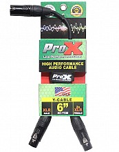 ProX XC-YXM (6in XLR-M to Dual XLR-F Cable)